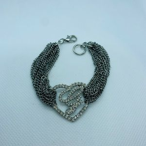 """Guess"" silver tone chain bracelet with heart"
